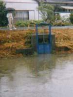 増水時閉めて川からの逆流を防ぐ